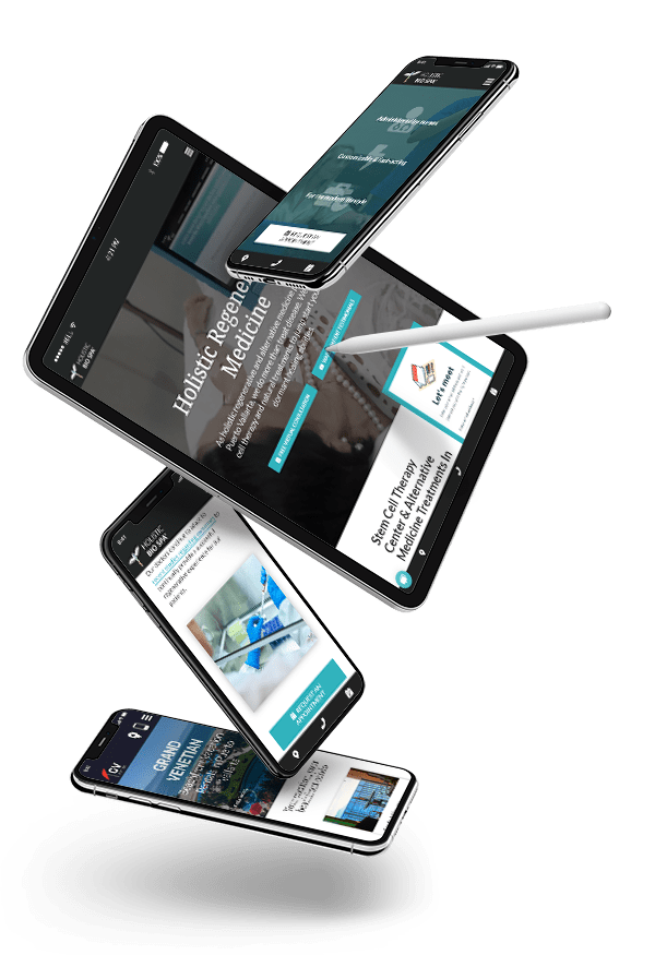 Responsive Website Design for Doctors Illustrated on Multiple iOS screen sizes